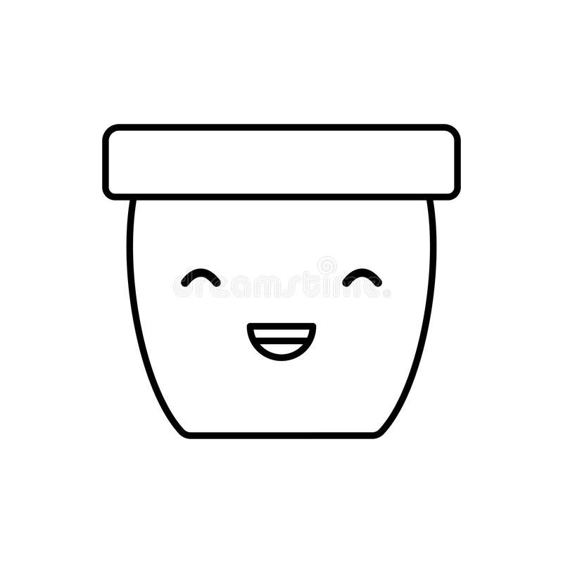 Ceramic pot gardening kawaii character. Vector illustration design vector illustration