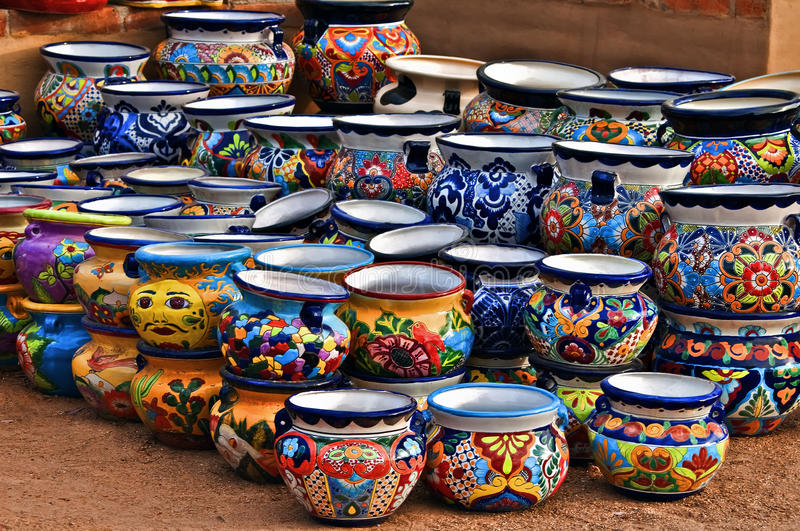 Ceramic Pots, Tubac Arizona. Colorful ceramic pottery with designs from Mexico and on display to be sold in a local market in the artists colony city of Tubac stock photo