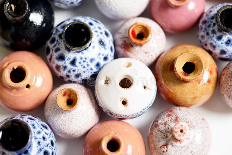 Ceramic pots in glaze stock images