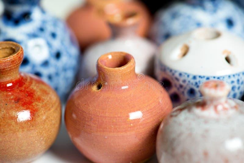 Ceramic pots in glaze stock image