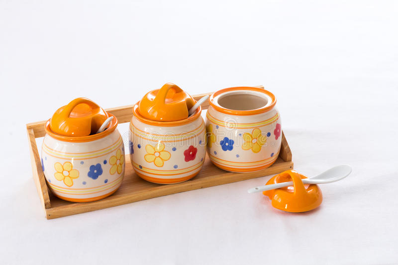 Download Ceramic pots on a shelf stock image. Image of white, decoration - 35744917