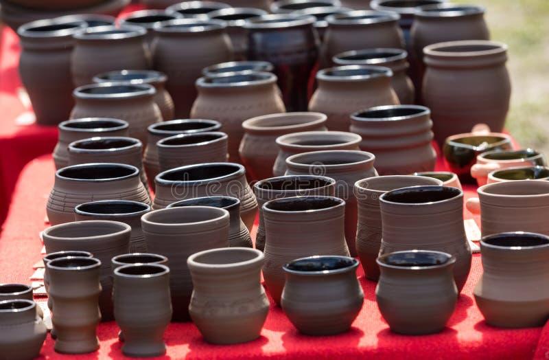 Ceramic pottery. Handmade ceramic pottery in a roadside market royalty free stock photography