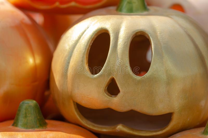 Ceramic pumpkins ready for halloween celebration royalty free stock images