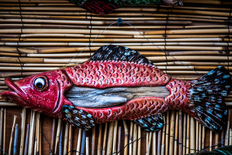 Ceramic red fish stock image