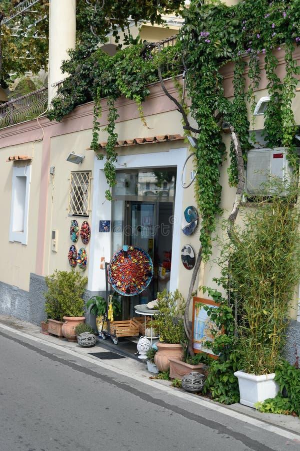 Ceramic shop Positano royalty free stock image