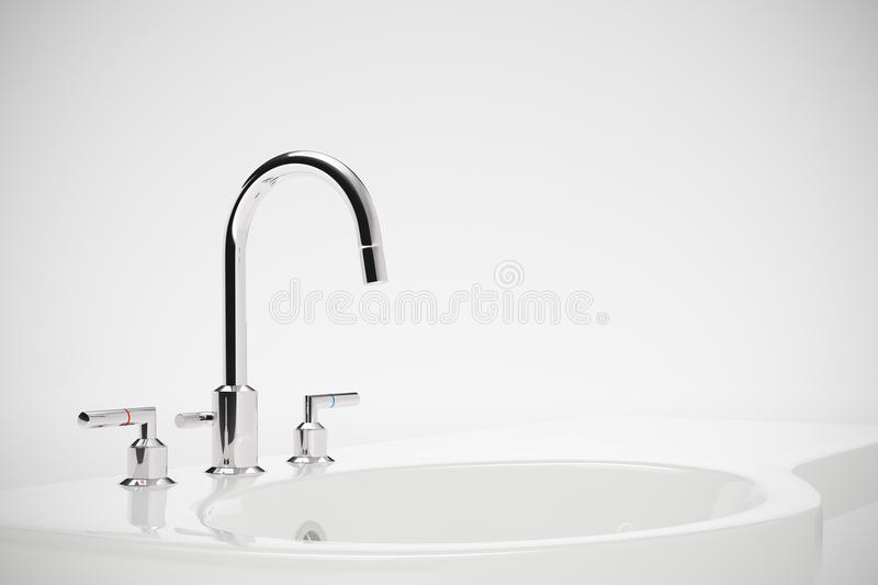 Ceramic sink. With chrome fixture on white background royalty free illustration