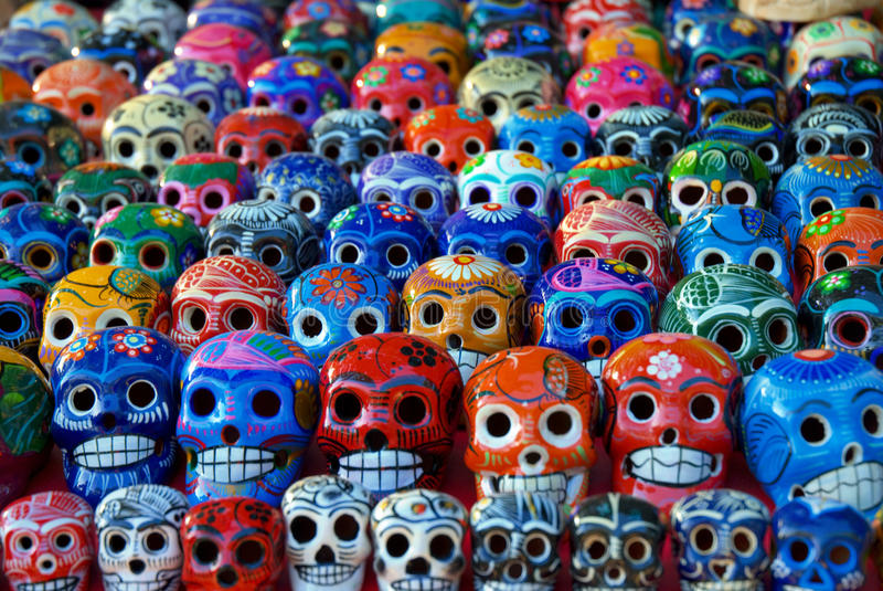 Ceramic Skulls for Sale at Chichen Itza, Mexico royalty free stock images