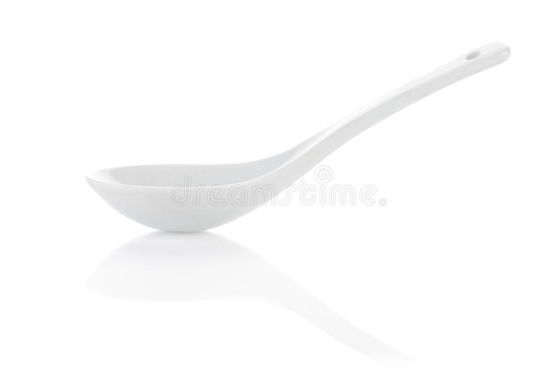 Ceramic spoon for soup royalty free stock image