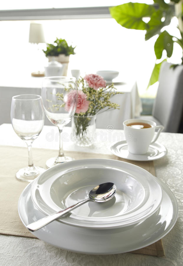 Ceramic Tableware And Soupspoon Royalty Free Stock Photography