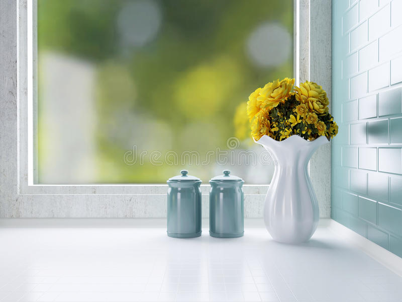 Ceramic tableware on the worktop stock photos