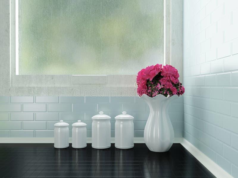 Ceramic tableware on the worktop stock illustration
