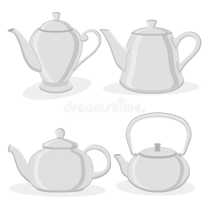 Ceramic teapot. Vector illustration of logo for ceramic teapot, on background.Teapot drawing consisting of four glass kettles with handle,lid,spout for draining royalty free illustration