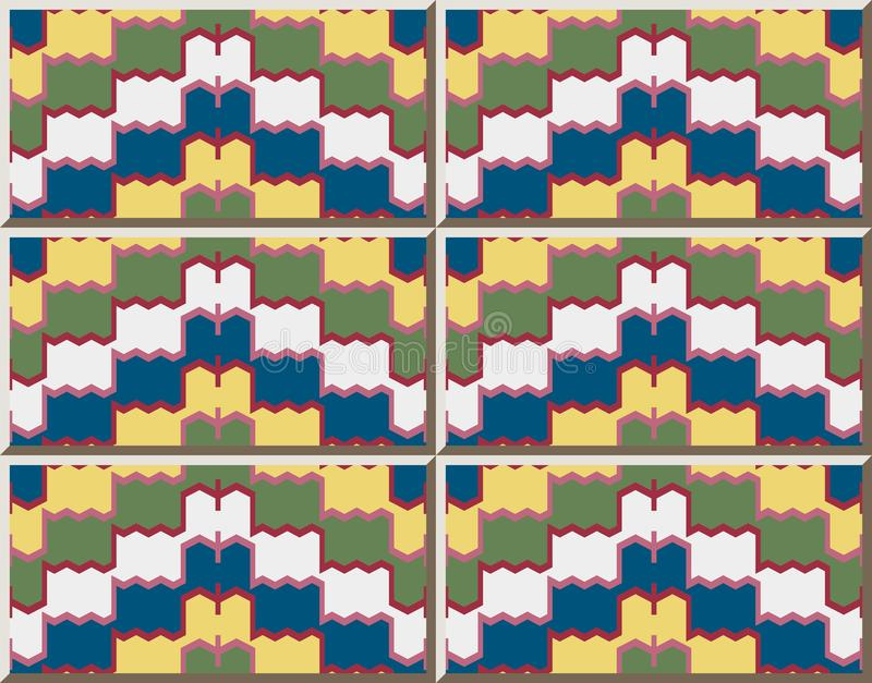 Ceramic tile pattern Geometry Sawtooth Cross Wave Frame Line. Oriental interior floor wall ornament elegant stylish design stock illustration