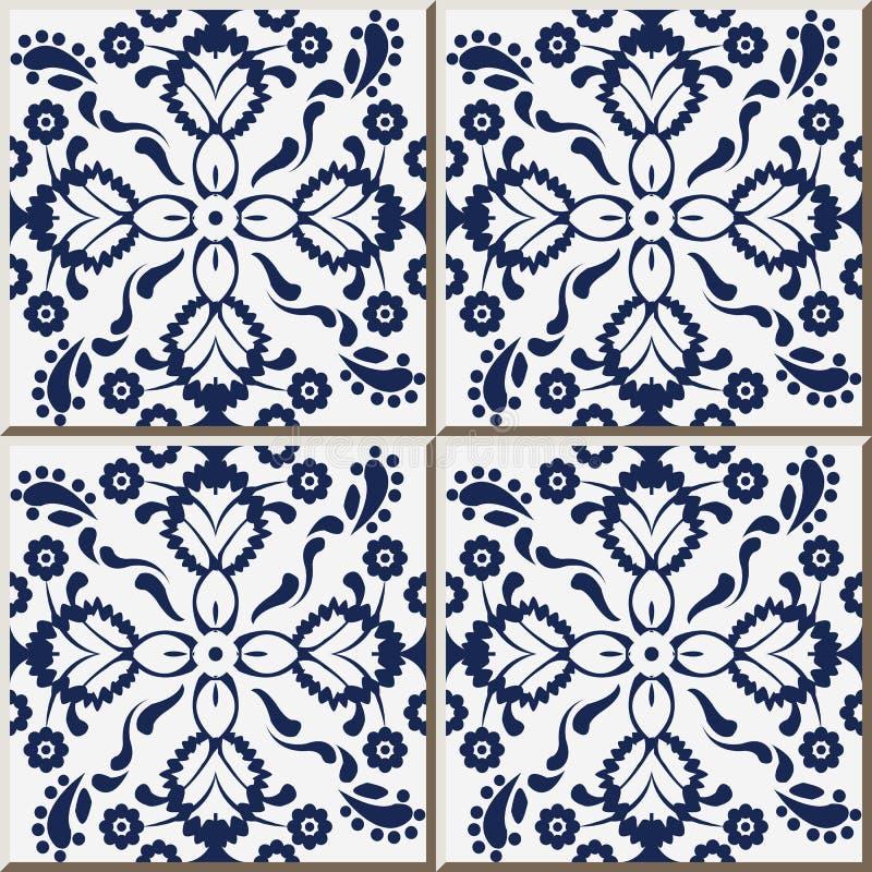 Ceramic Tile Pattern 324 Navy Blue Cross Flower Kaleidoscope Stock ...