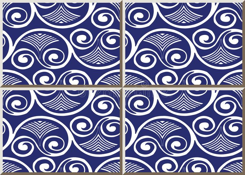 Ceramic tile pattern round spiral curve vortex cross frame fan v. Ine, oriental interior floor wall ornament elegant stylish design stock illustration