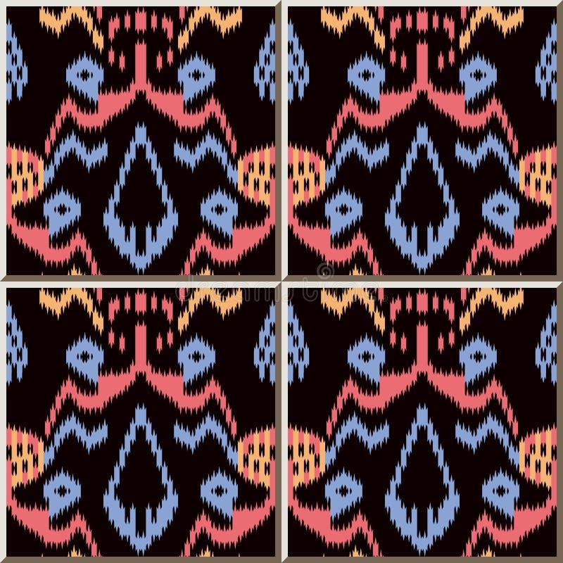 Ceramic tile pattern Sawtooth Edge Aboriginal Cross Colorful Frame. Oriental interior floor wall ornament elegant stylish design vector illustration