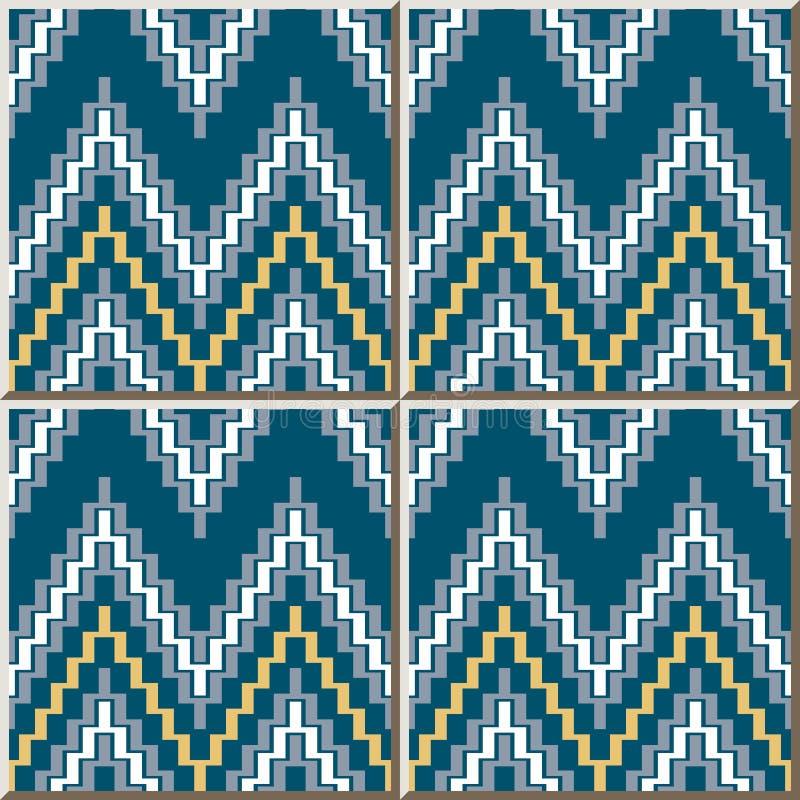 Ceramic tile pattern Sawtooth Ladder Geometry Cross Geometry. Oriental interior floor wall ornament elegant stylish design vector illustration
