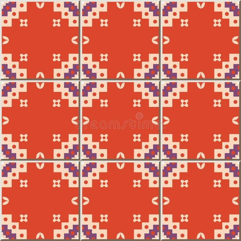 Ceramic tile pattern Sawtooth Square Check Geometry Cross. Oriental interior floor wall ornament elegant stylish design stock illustration