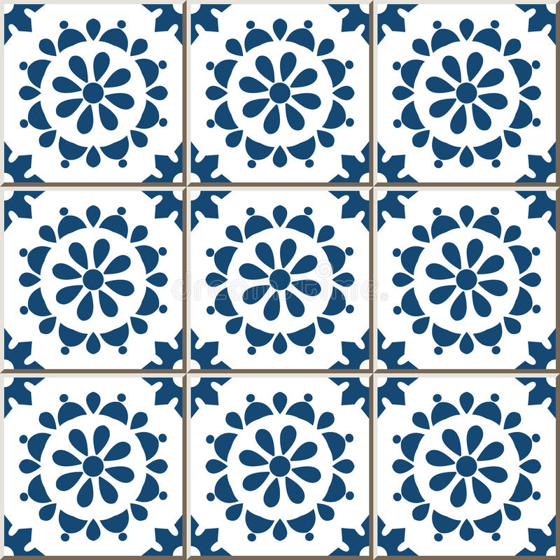 Ceramic Tile Pattern 356 Vintage Blue Round Cross Flower Stock ...