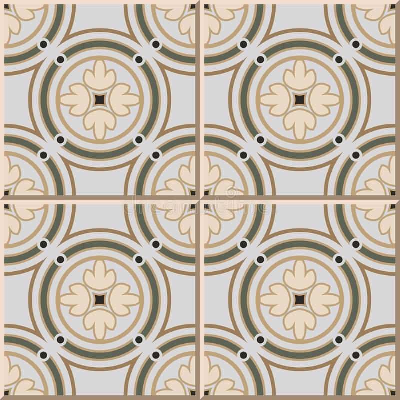 Ceramic Tile Pattern 364 Vintage Round Circle Frame Cross Flower ...