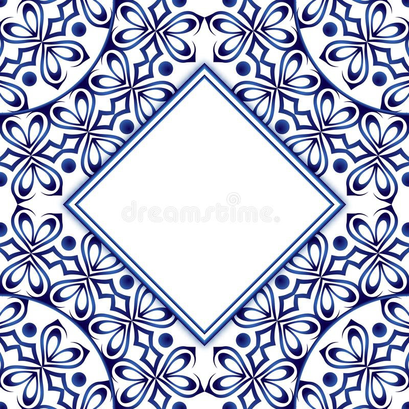 Ceramic tile pattern with watercolor ornament. Islamic, indian, vector illustration