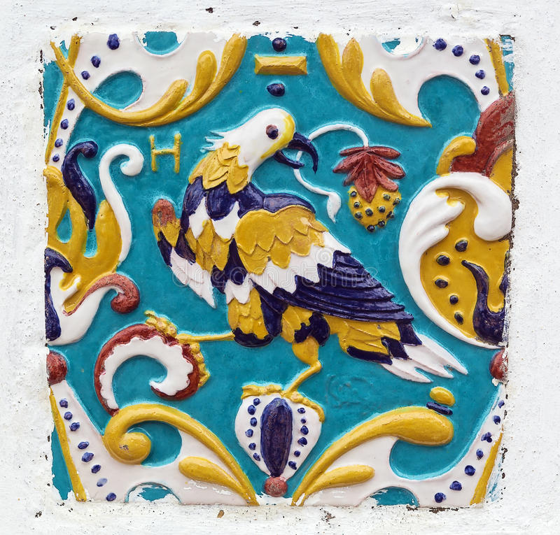 Ceramic tile. On a wall of Church of John the Baptist in Alexey Monastery in Uglich, Russia stock photography