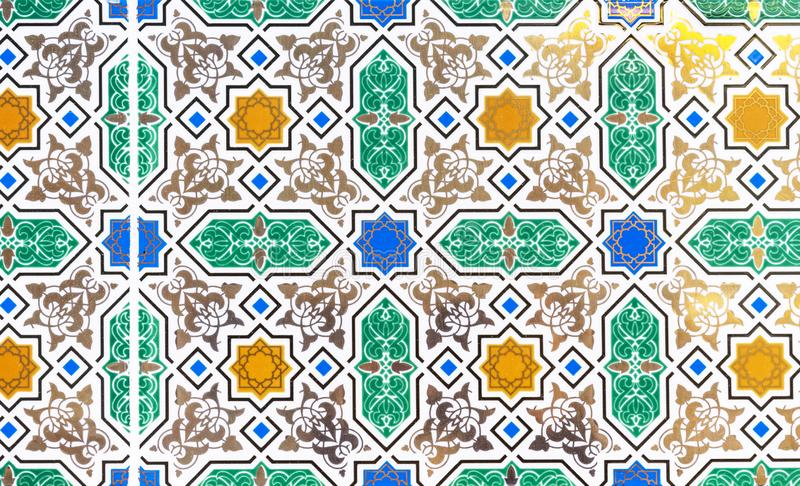 Ceramic tiles with bright oriental patterns. Oriental ornaments stock photography