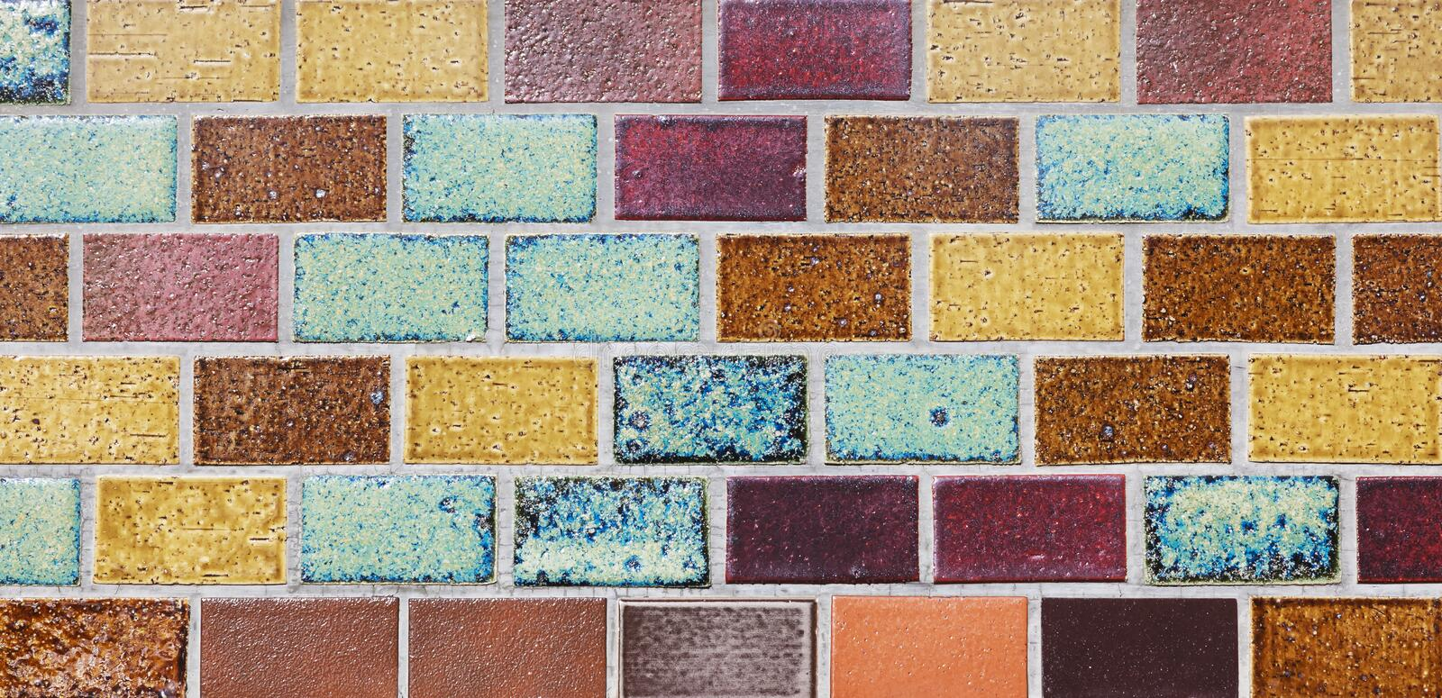 Ceramic tiles colorful wall background stock images