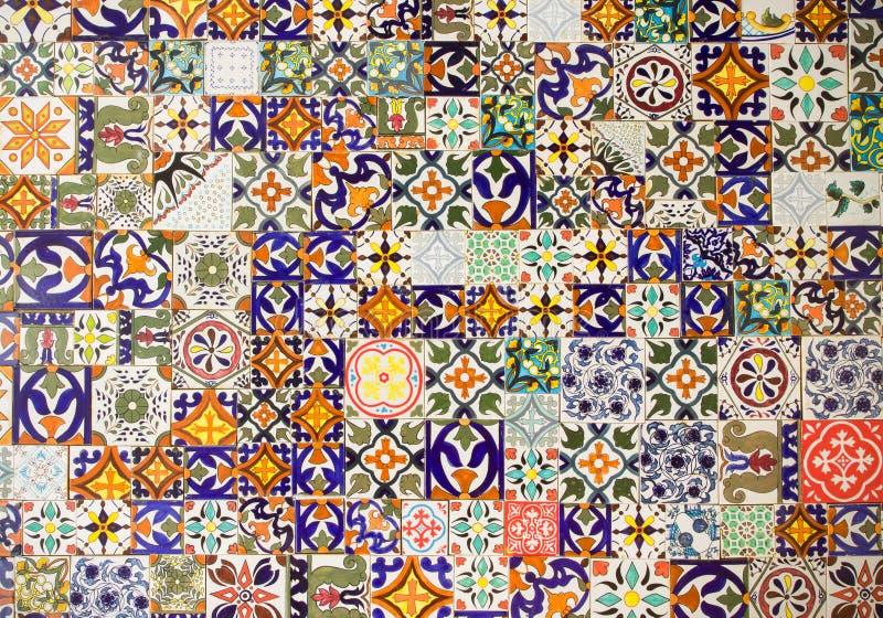 Ceramic tiles patterns. Retro abstract ceramic tiles patterns stock image