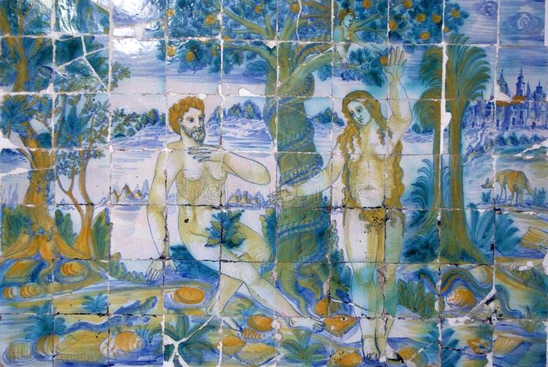 Ceramic tiles from Talavera, Talavera de la Reina,. Basiloca del Prado, Toledo, Spain royalty free stock photography