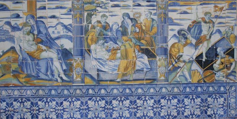 Ceramic tiles from Talavera, Talavera de la Reina,. Basiloca del Prado, Toledo, Spain stock image
