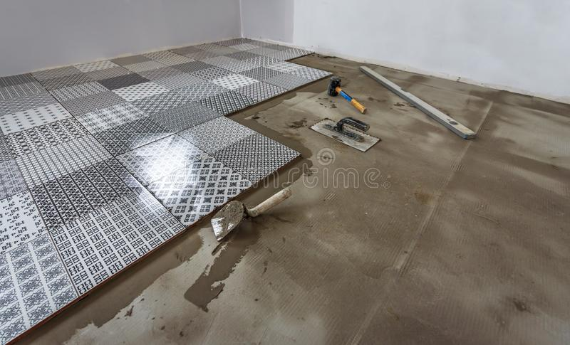 Ceramic tiles and tools for tiler. stock photos