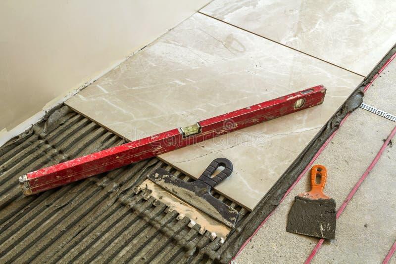 Ceramic Tiles And Tools For Tiler. Floor Tiles Installation. Hom ...