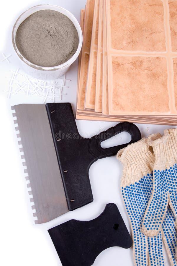Ceramic Tiles And Trowel For Repairs Stock Image