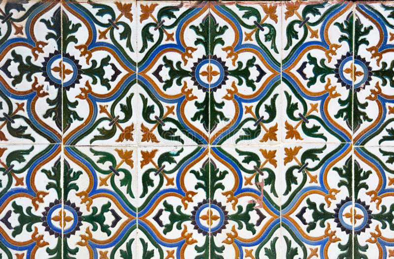 Ceramic tiles wall decoration royalty free stock photo