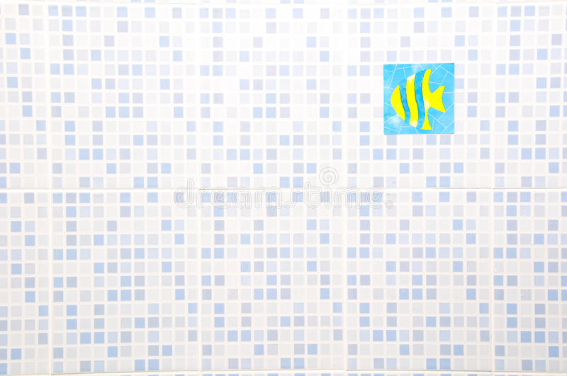Ceramic Wall. Blue Ceramic Wall with fish sticker royalty free illustration