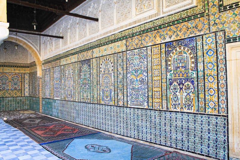 The Ceramic wall interior of Sidi Sahbi Mausoleum, Kairouan, Tunisia. The Ceramic wall art interior of Sidi Sahbi Mausoleum, Kairouan, Tunisia stock photos