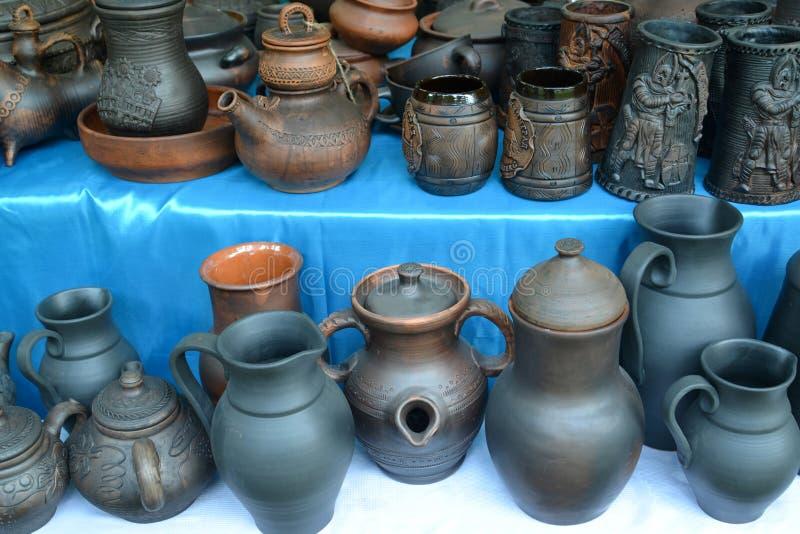 Ceramic ware of handwork at fair of national creativity.  stock photo