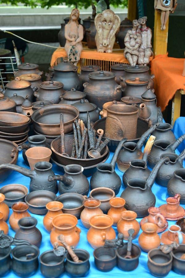 Ceramic ware of handwork at fair of national creativity.  stock photography