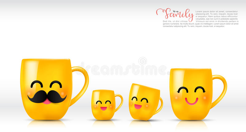 Ceramic yellow mug cartoon happy and smile father mother son. And daughter a cup family on white background vector illustration eps10 royalty free illustration