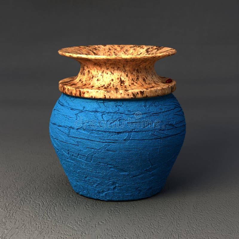 Ceramica di Digital - piccolo vaso blu immagine stock