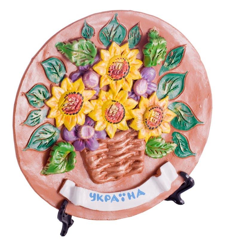 Ceramica tradizionale ucraina delle terraglie con testo fotografia stock libera da diritti