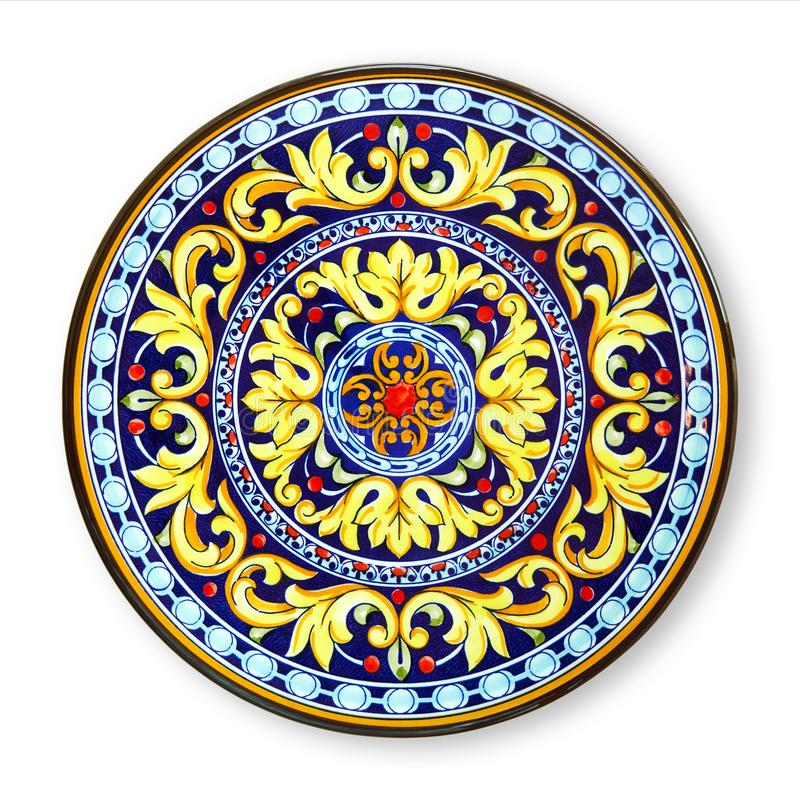 Ceramics decorative plates, Islamic plate with mandala pattern, View from above isolated on white background with clipping path royalty free stock images