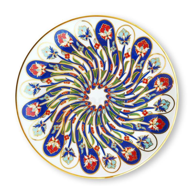 Ceramics decorative plates, Islamic plate with mandala pattern, View from above isolated on white background with clipping path. Ceramics decorative plates stock photography