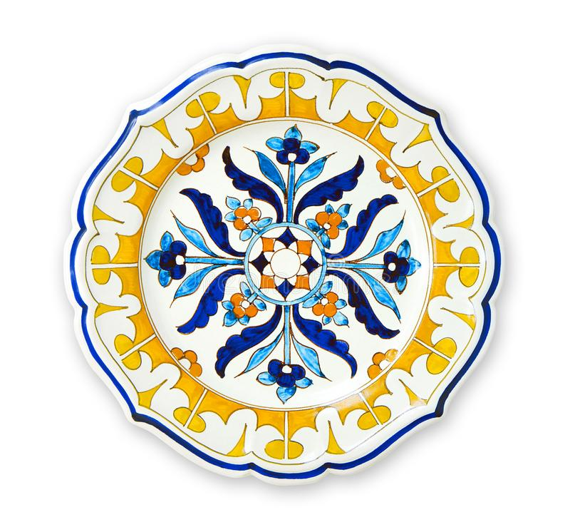 Ceramics decorative plates, Islamic plate with mandala pattern, View from above isolated on white background with clipping path stock photos