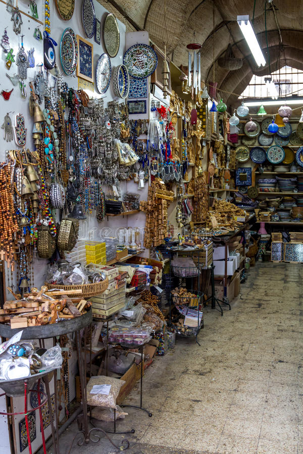 Ceramics, gift shop on market in Nazareth, Israel. The ceramics dishes and souvenirs in the gift shop on market in Nazareth, Israel royalty free stock image