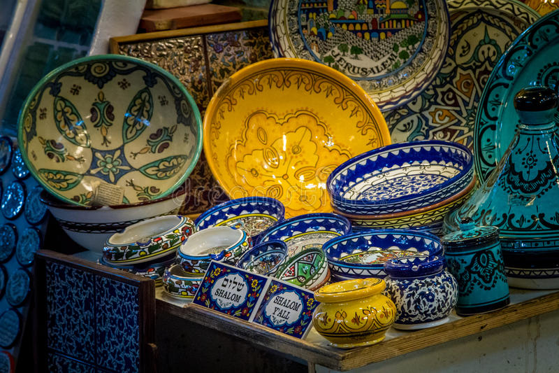 Ceramics, gift shop on Arab market, Old City of Jerusalem. Traditional ceramics dishes and souvenirs in the gift shop on Arab market in the Old City of Jerusalem royalty free stock images