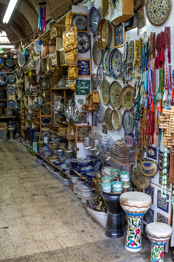 Ceramics, gift shop on market in Nazareth, Israel. The ceramics dishes and souvenirs in the gift shop on market in Nazareth, Israel royalty free stock photos