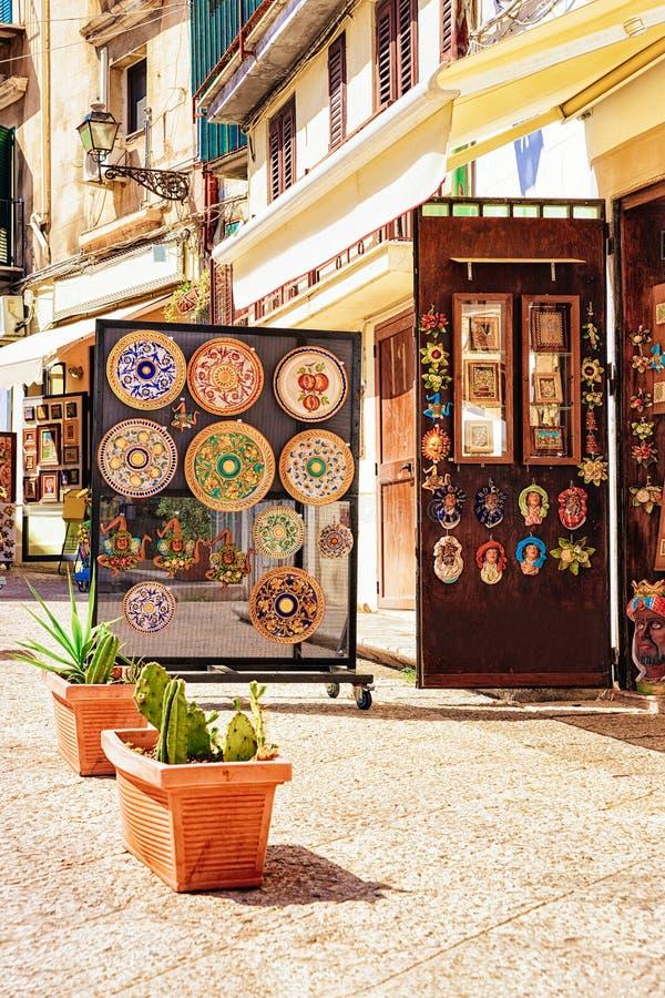 Ceramics souvenir shop street of Monreale Sicily. Monreale, Italy - September 18, 2017: Ceramics souvenir shop in the street of Monreale town, Sicily island royalty free stock image
