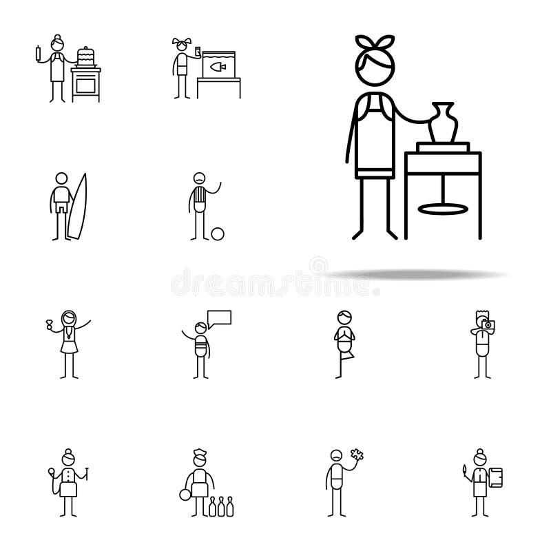 ceramiczna ikona hobbie ikon ogólnoludzki ustawiający dla sieci i wiszącej ozdoby ilustracja wektor